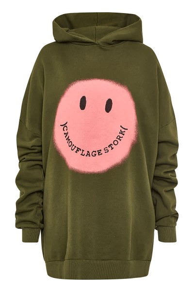 Hoodie Oversize Smiley Military