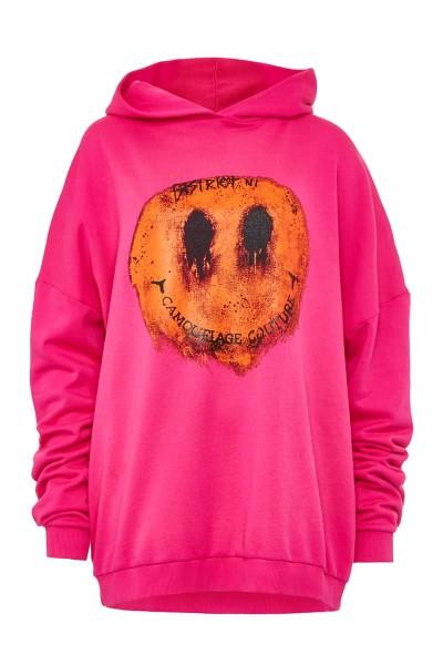 Hoodie Oversize Smiley Pink