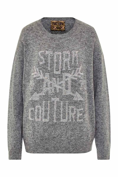 Cozy Pullover Grey Stork and Couture Crystal AB