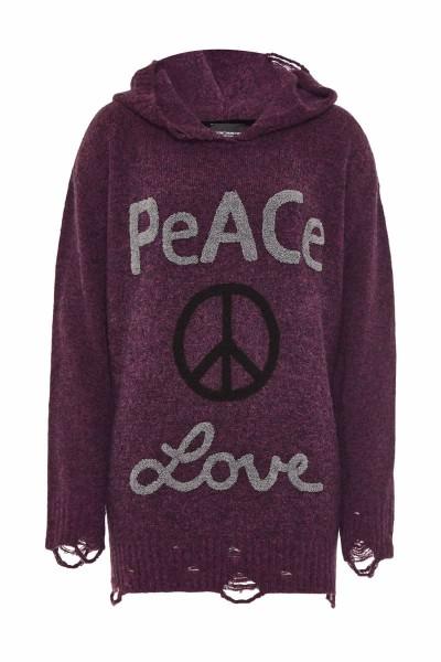 """Hoodie """"Peace & Love"""" Magenta"""