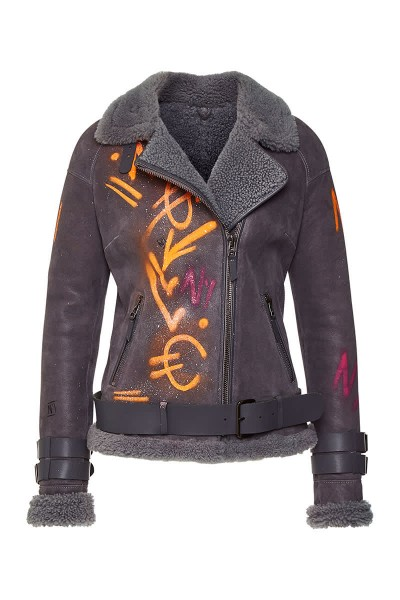 Shearling Jacke Handpainted