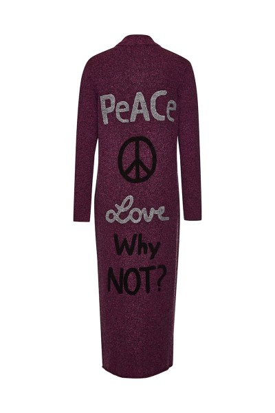 "Cardigan ""Peace & Love"" Magenta"