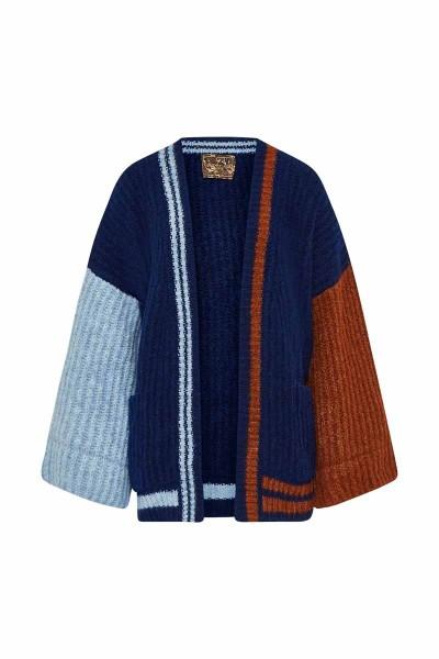 Multicolor Short Cardigan Blue/Rust