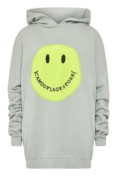 Hoodie Oversize Smiley Grau