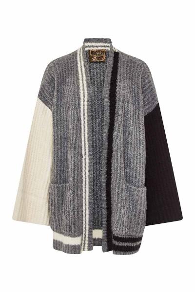 Multicolor Short Cardigan Grey/Black